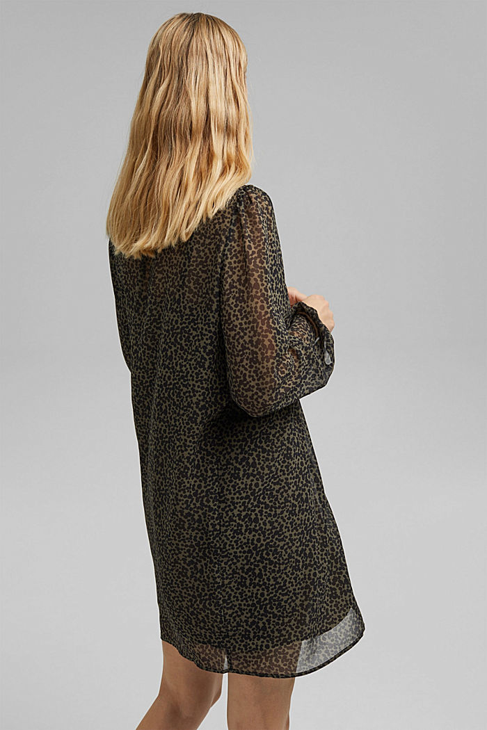 Gerecycled: chiffon jurk met print, KHAKI GREEN, detail image number 2