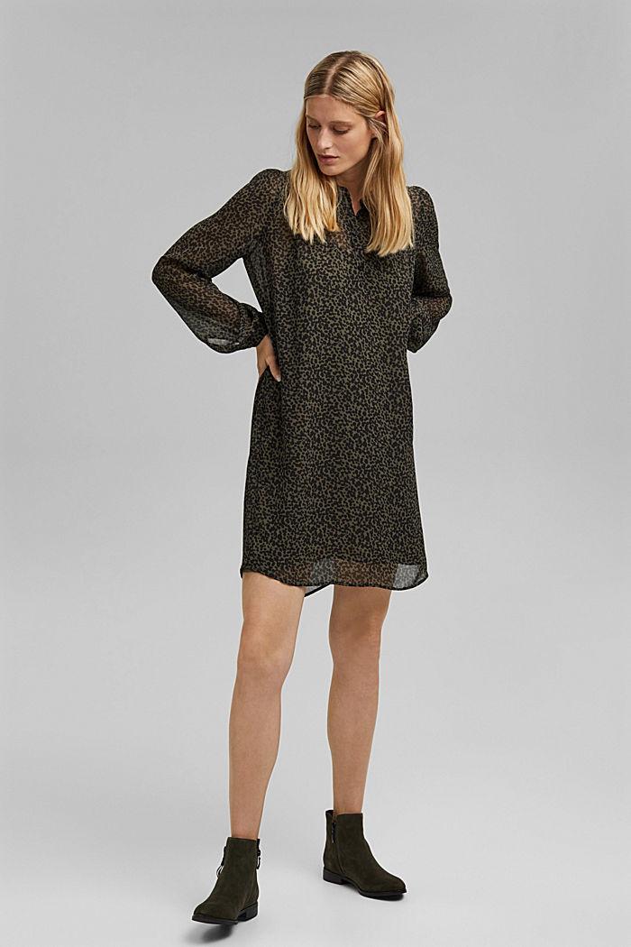 Gerecycled: chiffon jurk met print, KHAKI GREEN, detail image number 1