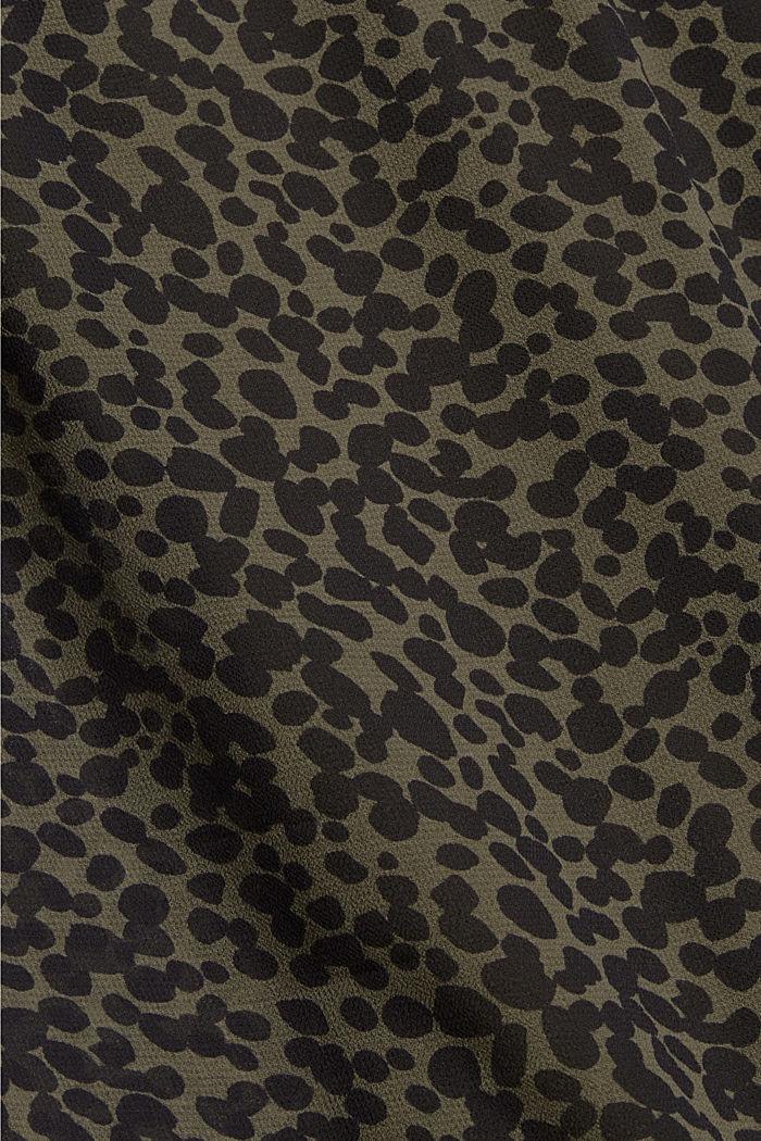 Gerecycled: chiffon jurk met print, KHAKI GREEN, detail image number 4