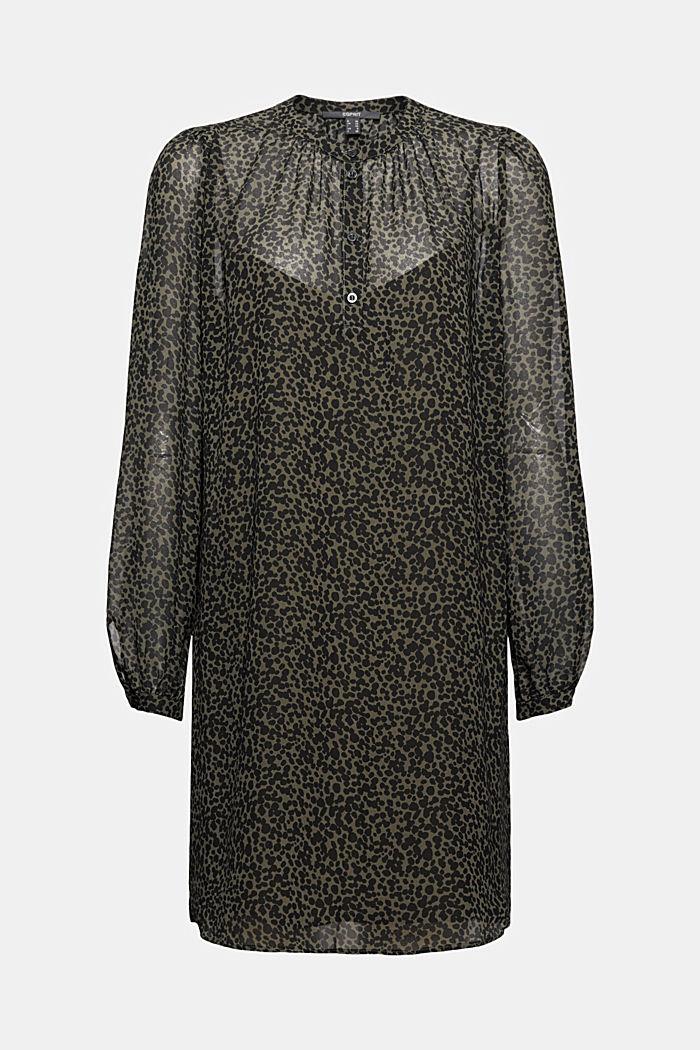 Gerecycled: chiffon jurk met print, KHAKI GREEN, detail image number 6