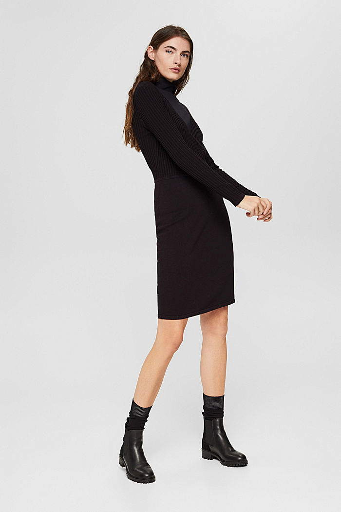 Knit dress with LENZING™ ECOVERO™, BLACK, detail image number 4