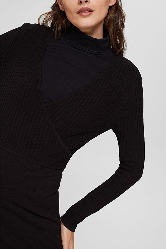 Knit dress with LENZING™ ECOVERO™, BLACK, detail image number 3