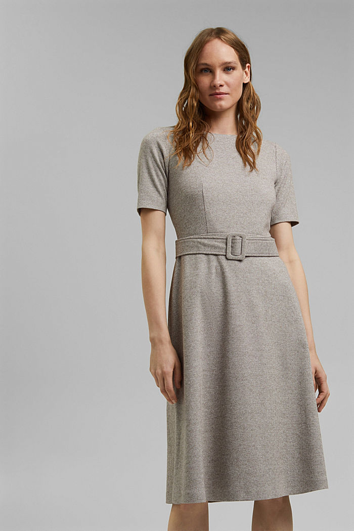 SOFT Mix + Match midi-jurk met ceintuur, CARAMEL, detail image number 0