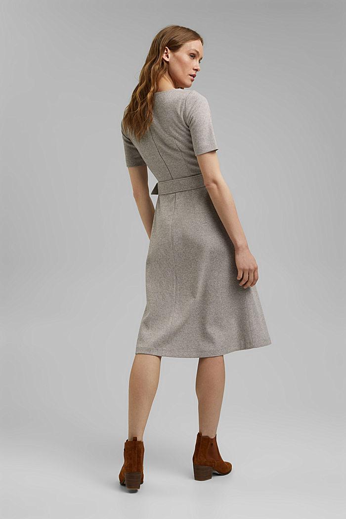 SOFT Mix + Match midi-jurk met ceintuur, CARAMEL, detail image number 3