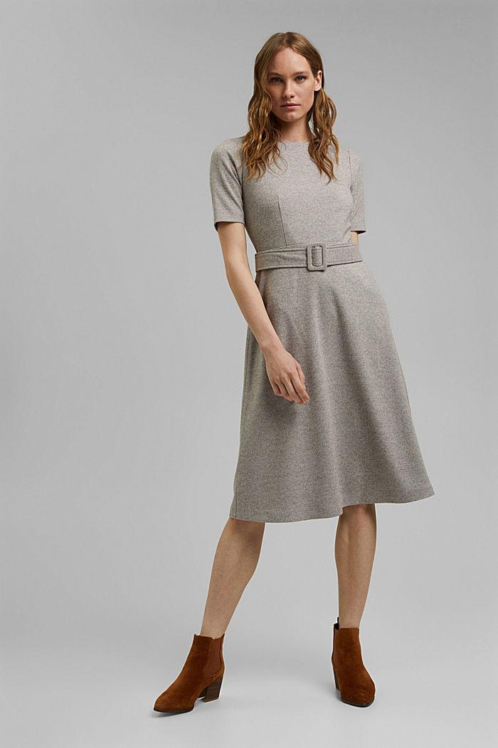 SOFT Mix + Match midi-jurk met ceintuur, CARAMEL, detail image number 6