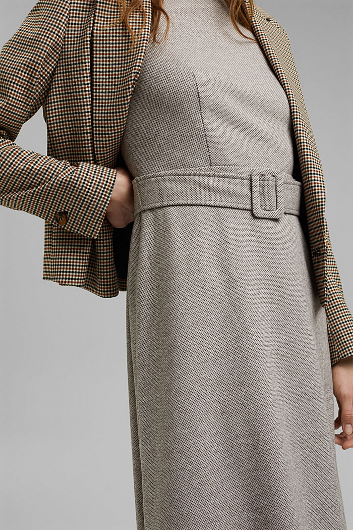 SOFT Mix + Match midi-jurk met ceintuur, CARAMEL, detail image number 2