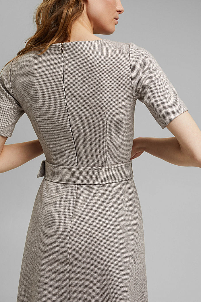 SOFT Mix + Match midi-jurk met ceintuur, CARAMEL, detail image number 5