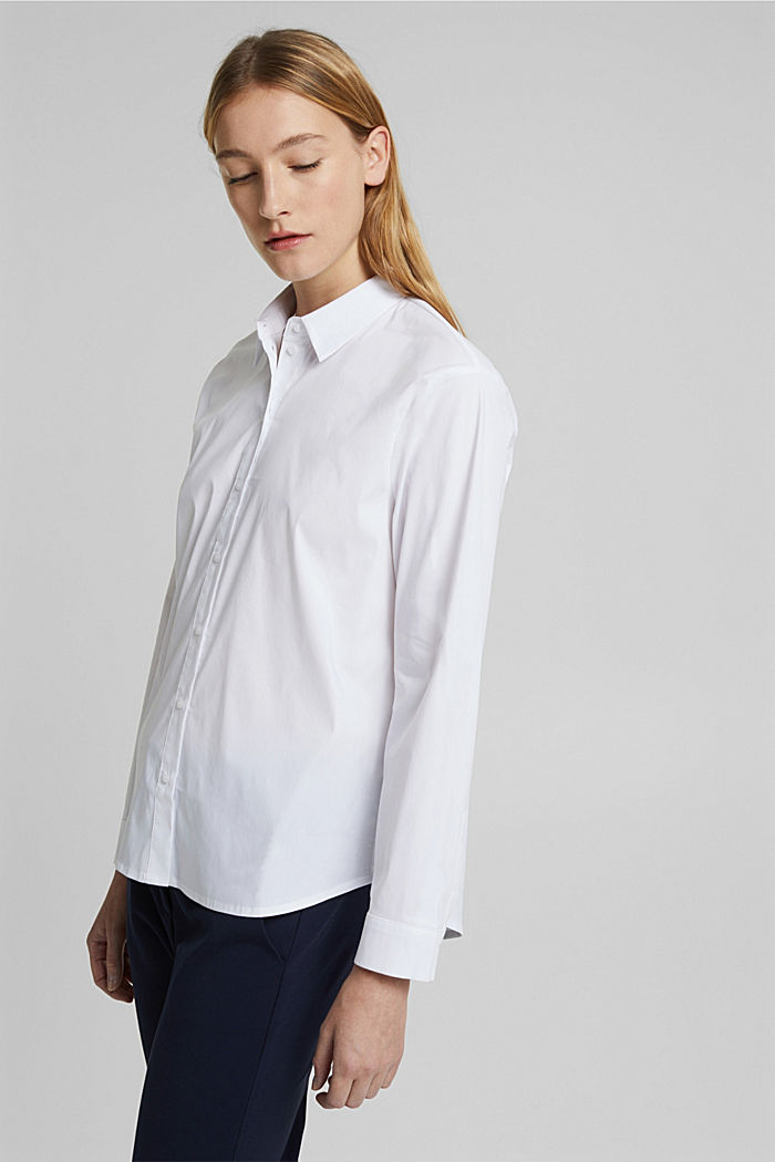 Shirt blouse made of blended cotton, WHITE, detail image number 5