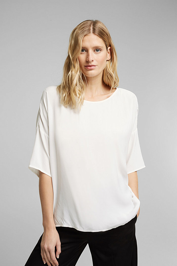 Loose-fitting blouse top, OFF WHITE, detail image number 0