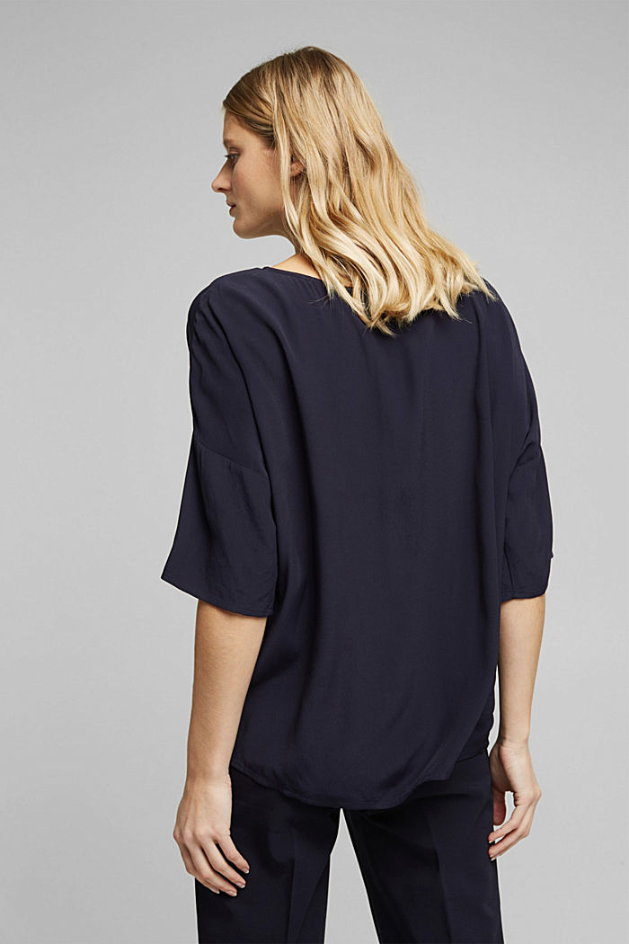 Loose-fitting blouse top, NAVY, detail image number 3