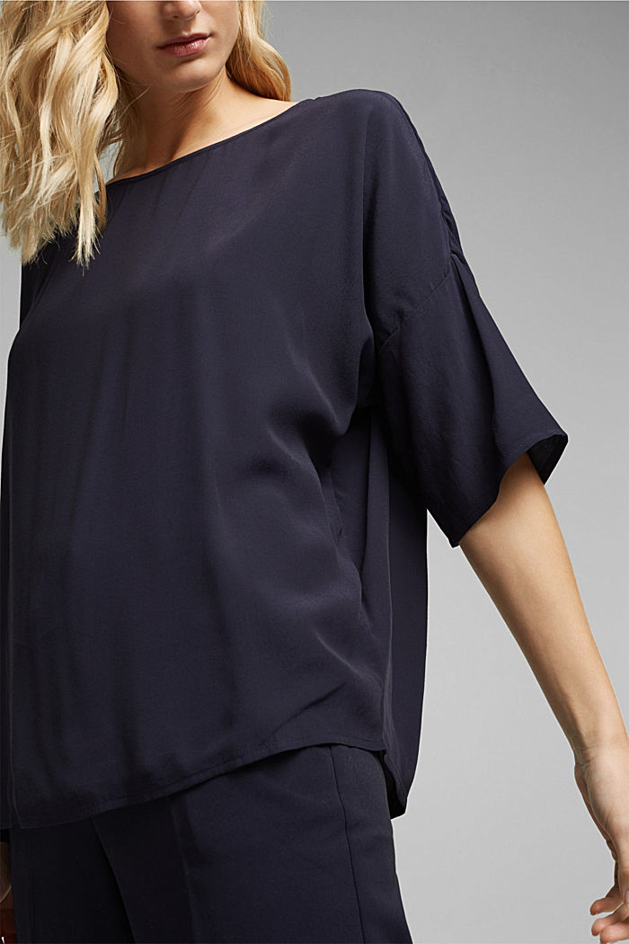 Loose-fitting blouse top, NAVY, detail image number 2
