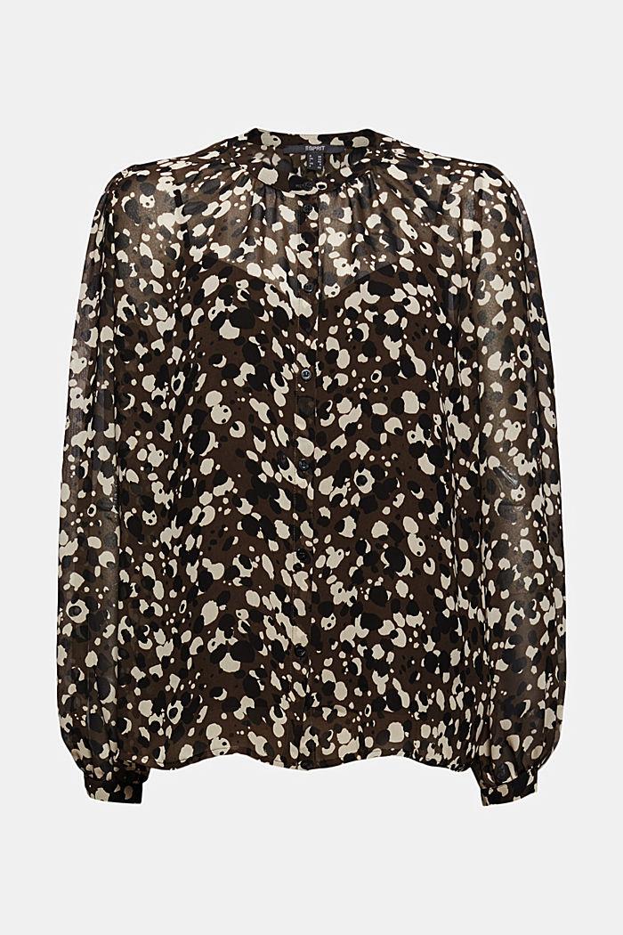 Recycelt: Chiffon-Bluse mit Print, DARK BROWN, detail image number 6