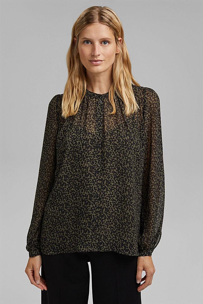 Gerecycled: chiffon blouse met print, KHAKI GREEN, detail image number 0
