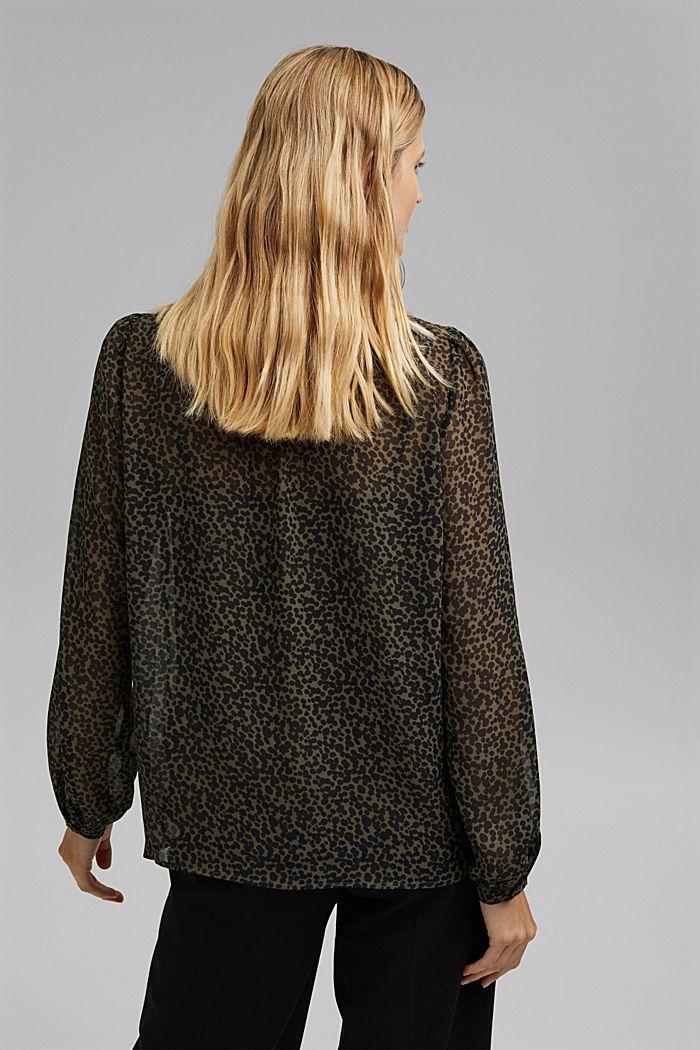 Gerecycled: chiffon blouse met print, KHAKI GREEN, detail image number 3