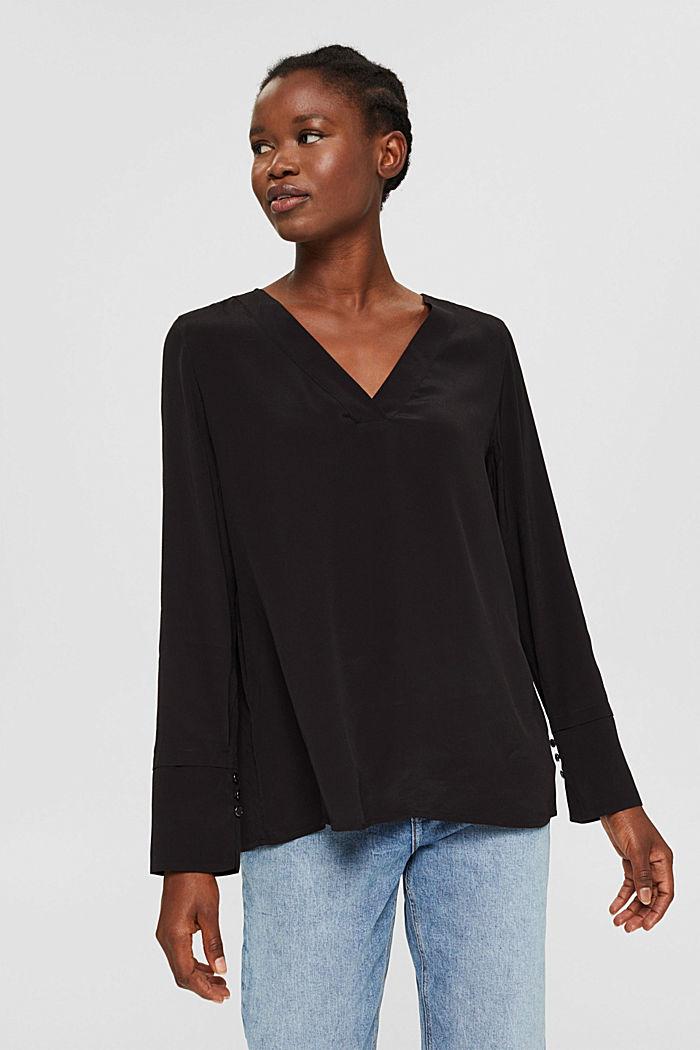 Bluse mit breiten Manschetten, LENZING™ ECOVERO™, BLACK, detail image number 0
