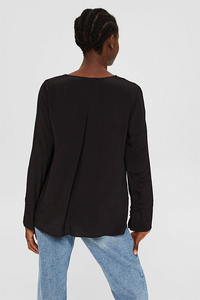 Bluse mit breiten Manschetten, LENZING™ ECOVERO™, BLACK, detail image number 3