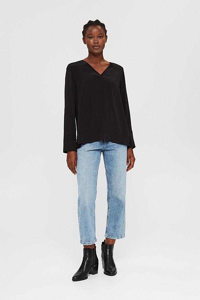 Bluse mit breiten Manschetten, LENZING™ ECOVERO™, BLACK, detail image number 1