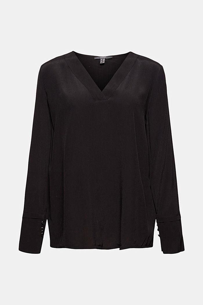 Bluse mit breiten Manschetten, LENZING™ ECOVERO™, BLACK, detail image number 5
