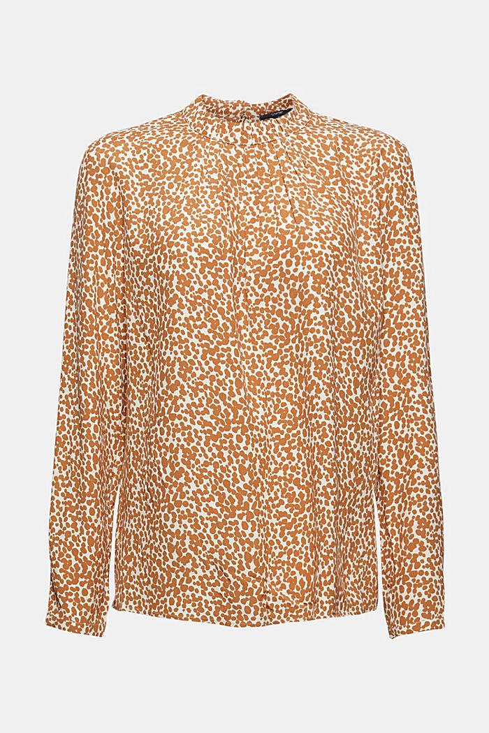 Print-Bluse mit plissiertem Stehkragen
