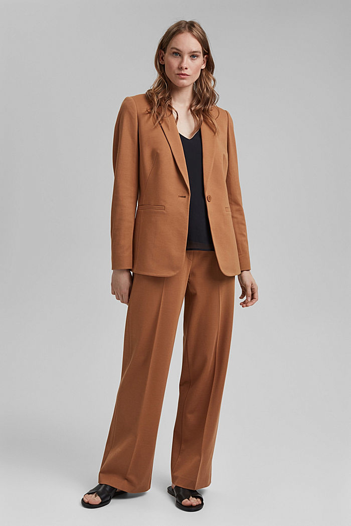 SOFT PUNTO mix + match jersey blazer, CARAMEL, detail image number 1