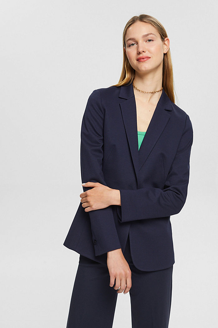 SOFT PUNTO Mix + Match jersey blazer, NAVY, detail image number 0