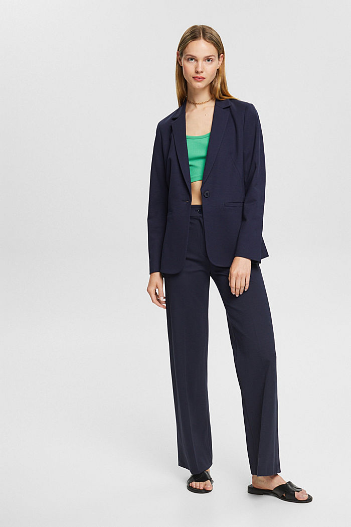 SOFT PUNTO Mix + Match jersey blazer, NAVY, detail image number 1