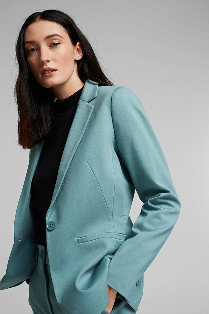 SOFT PUNTO Mix + Match Jersey-Blazer, DARK TURQUOISE, detail image number 5