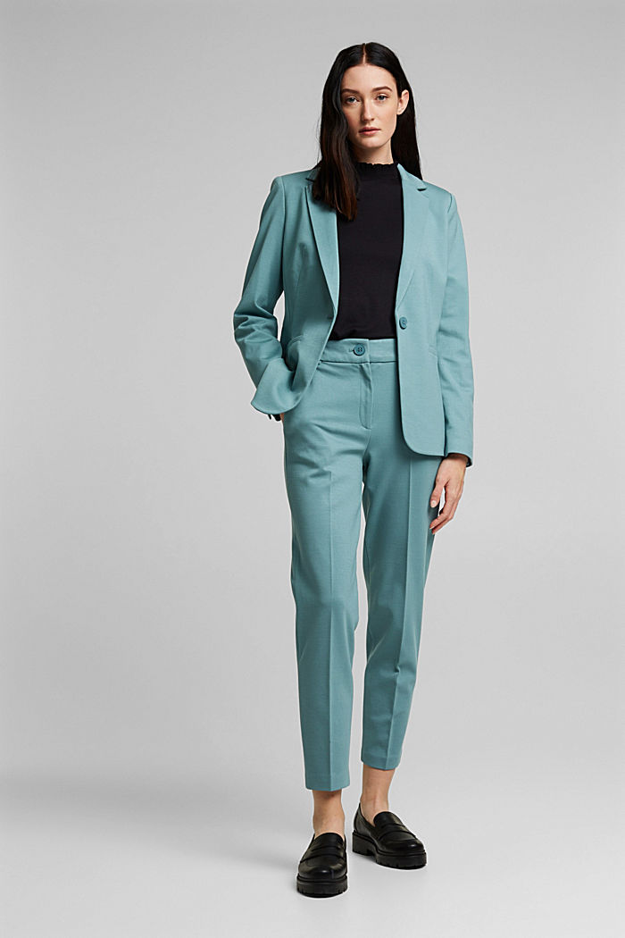 SOFT PUNTO Mix + Match Jersey-Blazer, DARK TURQUOISE, detail image number 1