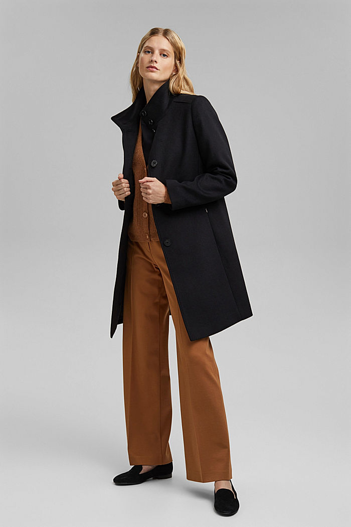 Made of blended wool: Coat with a stand-up collar, BLACK, detail image number 1