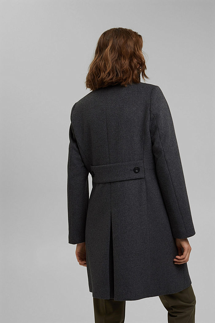 Made of blended wool: Coat with a stand-up collar, ANTHRACITE, detail image number 3
