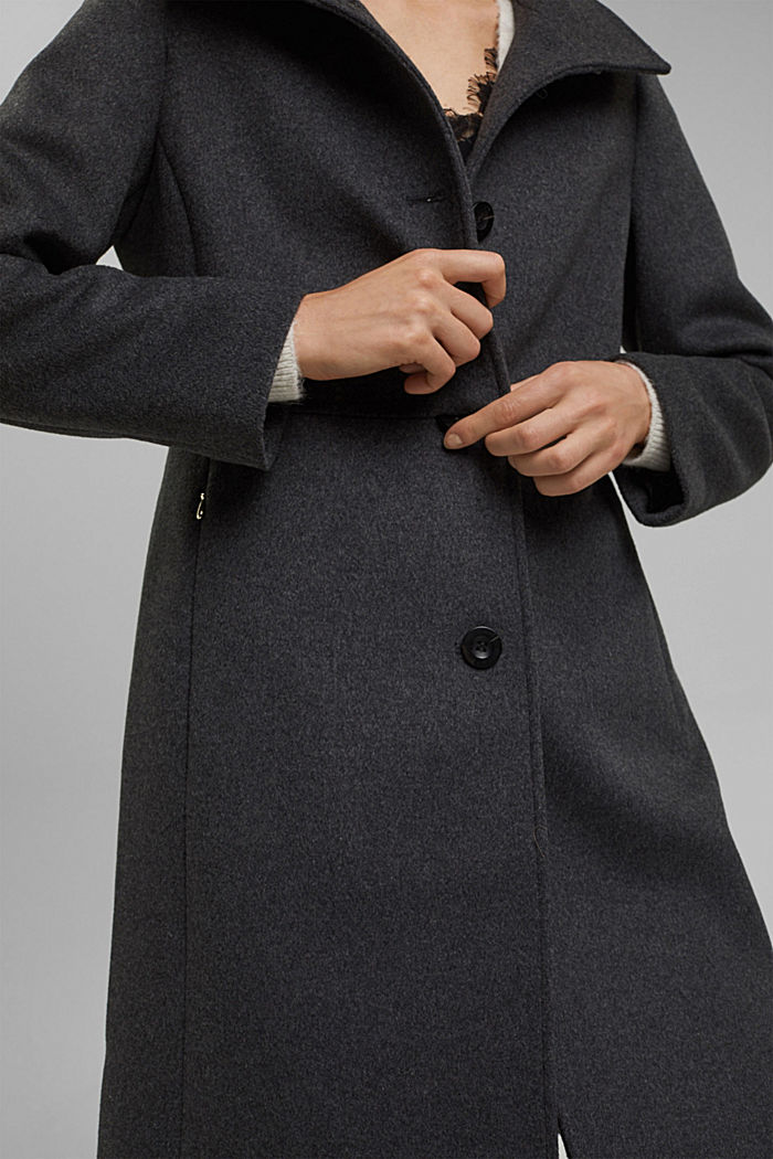 Made of blended wool: Coat with a stand-up collar, ANTHRACITE, detail image number 2