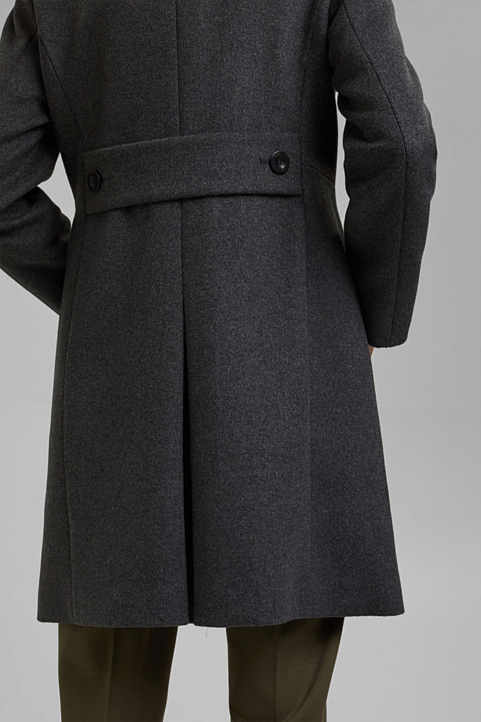 Made of blended wool: Coat with a stand-up collar, ANTHRACITE, detail image number 5