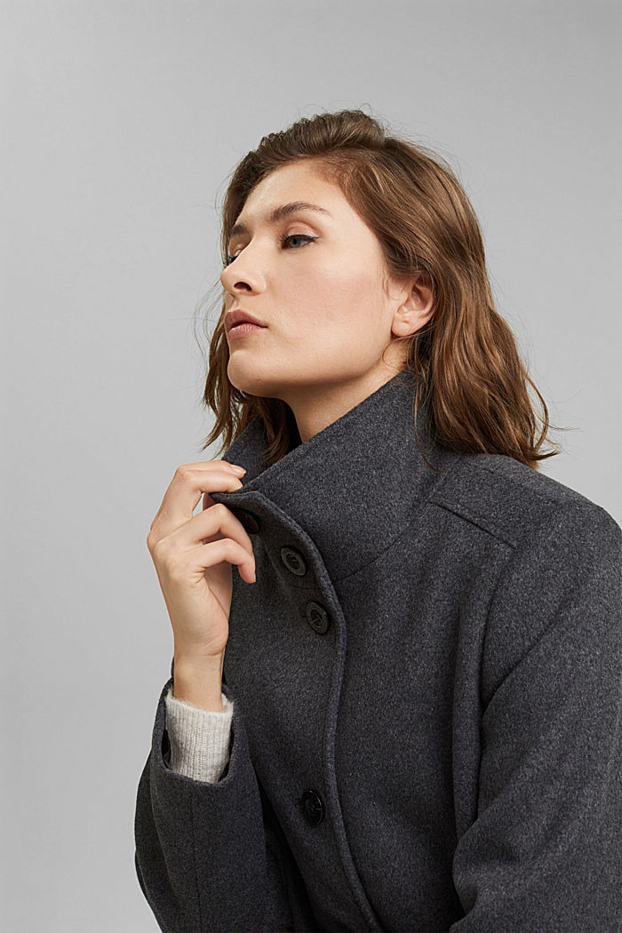 Made of blended wool: Coat with a stand-up collar, ANTHRACITE, detail image number 7