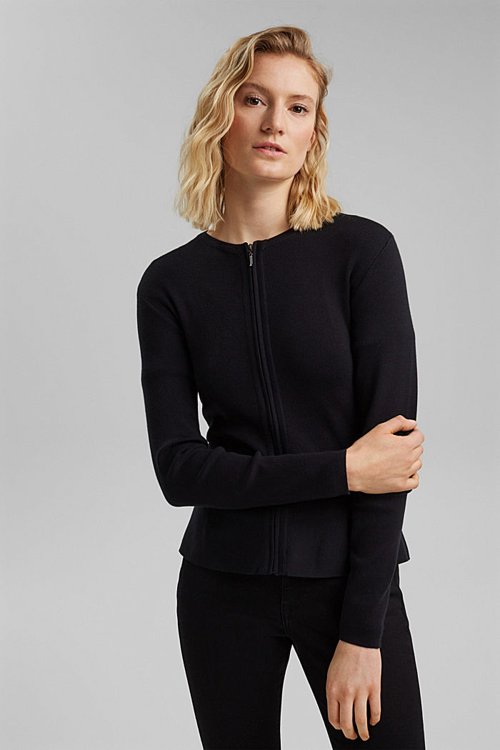 Fitted knit cardigan with a peplum, BLACK, detail image number 0
