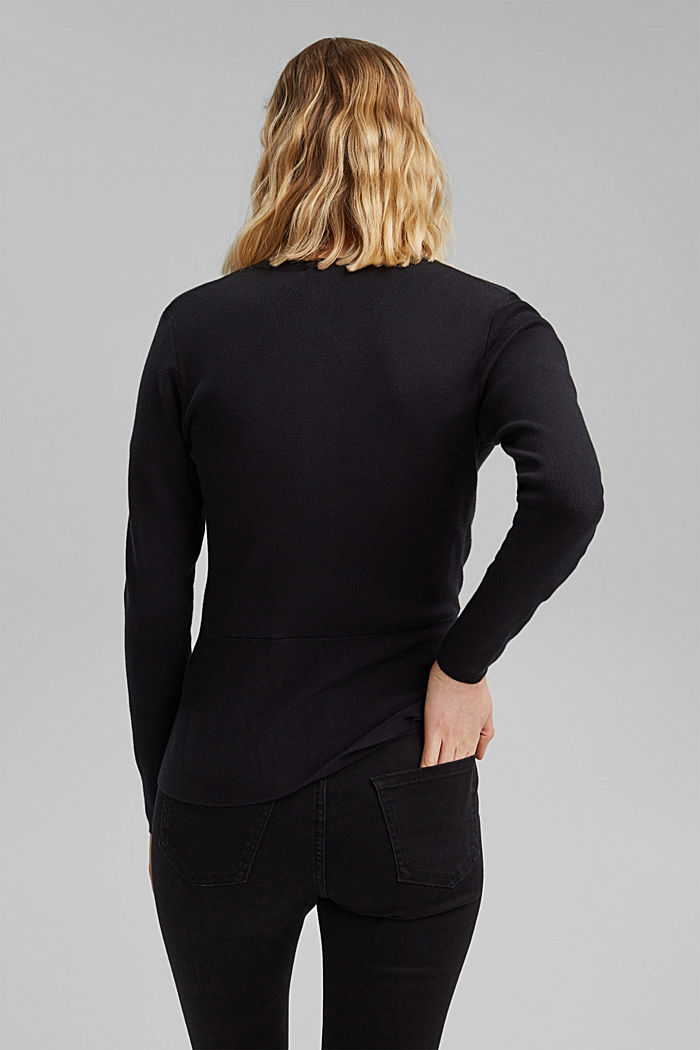 Fitted knit cardigan with a peplum, BLACK, detail image number 3