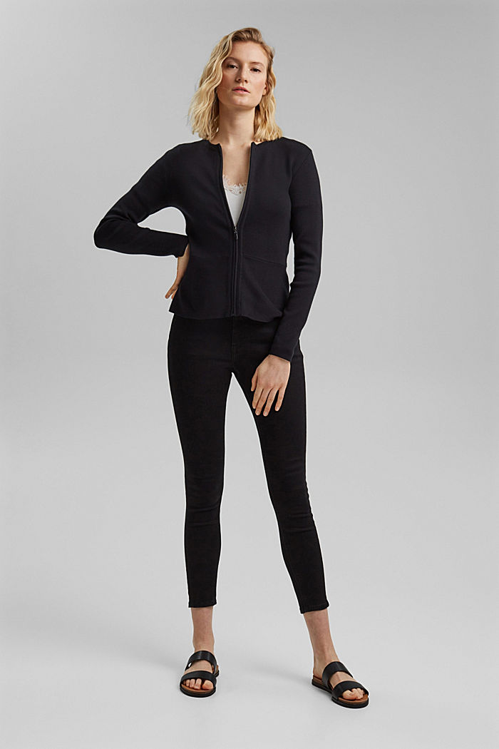 Fitted knit cardigan with a peplum, BLACK, detail image number 1