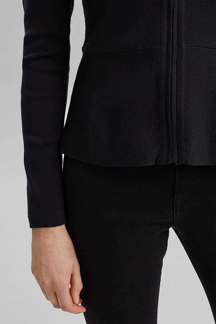 Fitted knit cardigan with a peplum, BLACK, detail image number 4