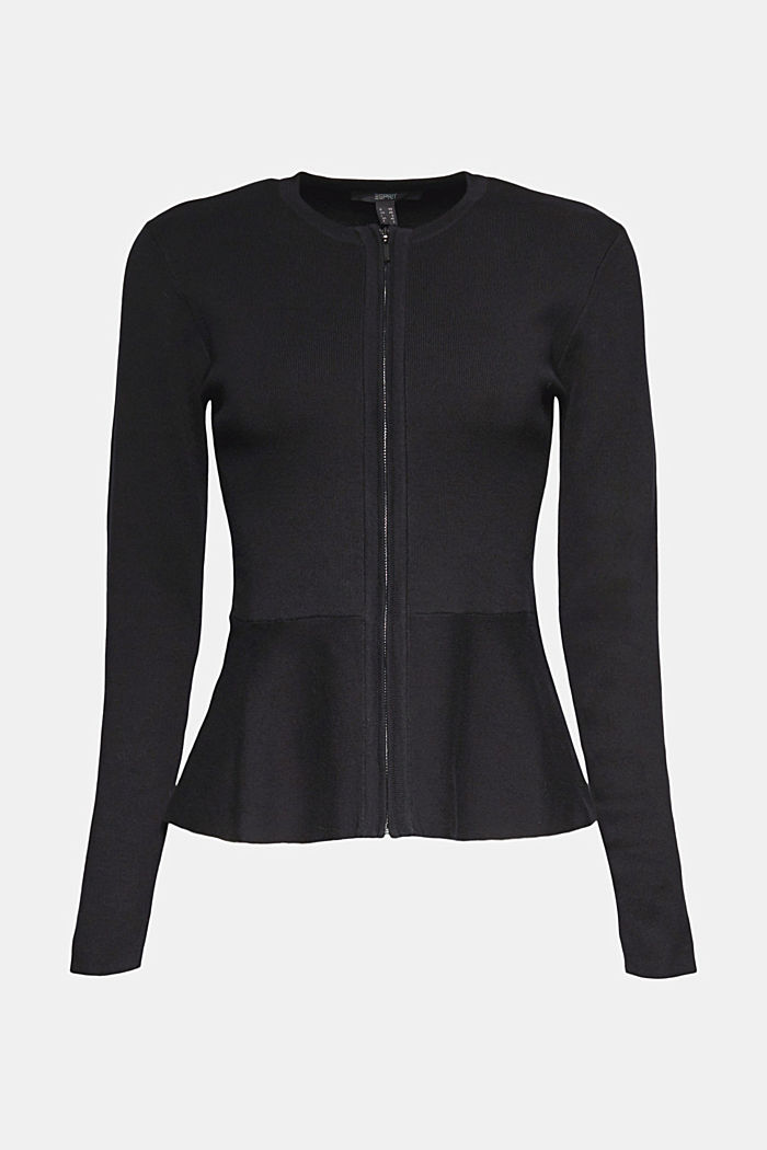 Fitted knit cardigan with a peplum, BLACK, detail image number 7