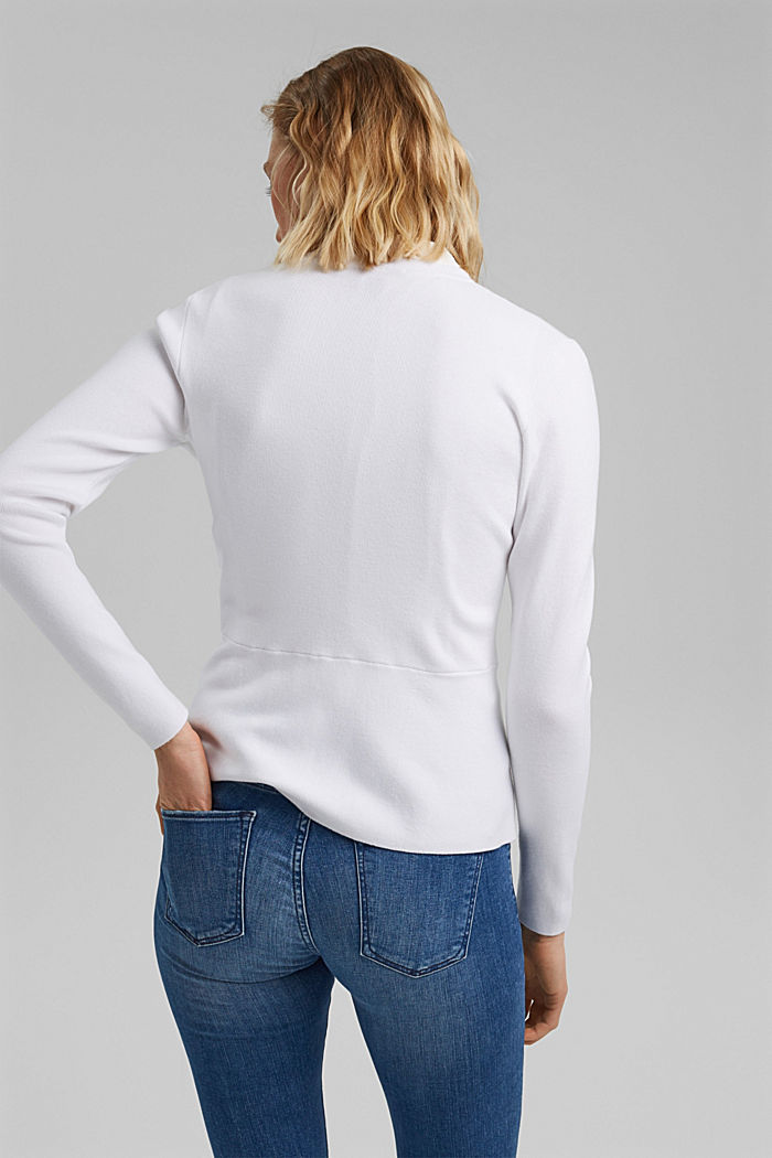 Fitted knit cardigan with a peplum, OFF WHITE, detail image number 3
