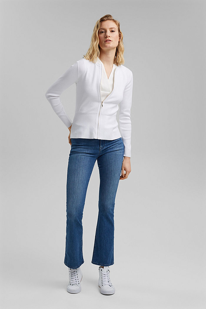Fitted knit cardigan with a peplum, OFF WHITE, detail image number 1