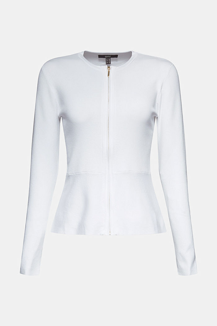 Fitted knit cardigan with a peplum, OFF WHITE, detail image number 8