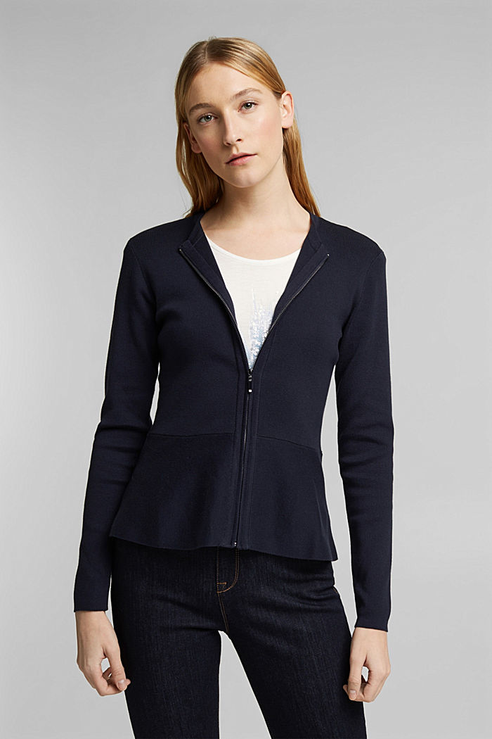 Fitted knit cardigan with a peplum, NAVY, detail image number 0