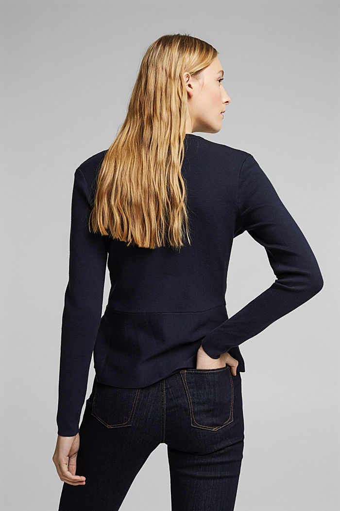 Fitted knit cardigan with a peplum, NAVY, detail image number 3