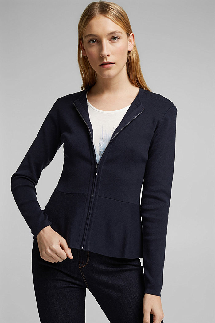 Fitted knit cardigan with a peplum, NAVY, detail image number 5