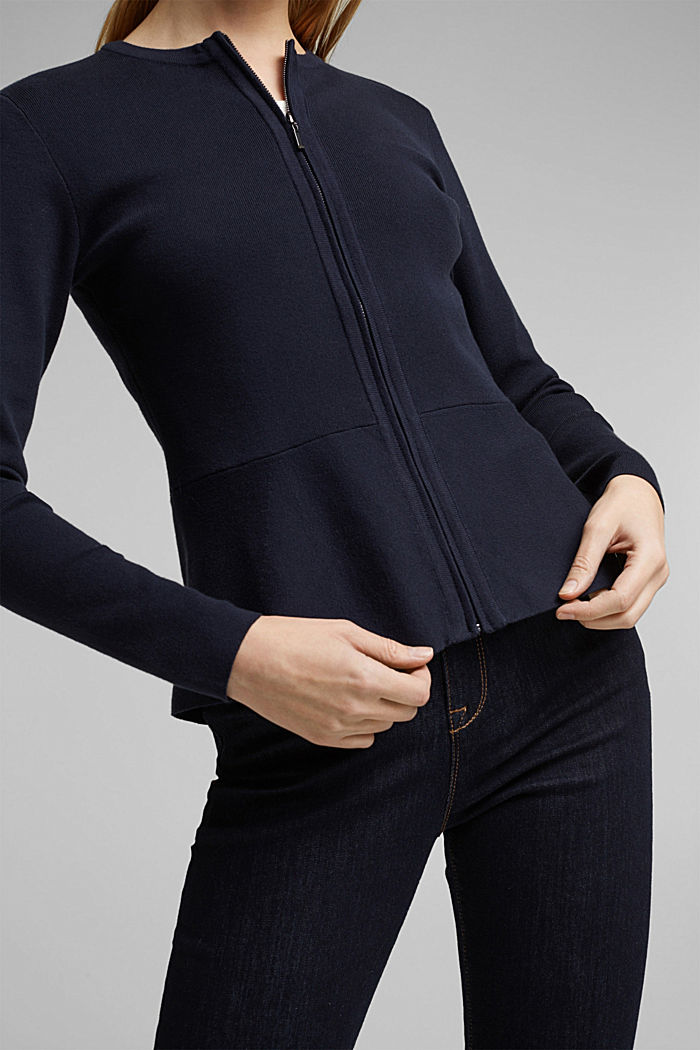 Fitted knit cardigan with a peplum, NAVY, detail image number 2