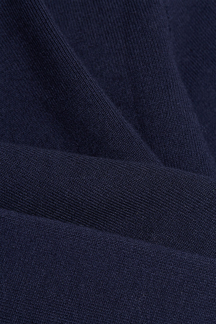 Fitted knit cardigan with a peplum, NAVY, detail image number 4