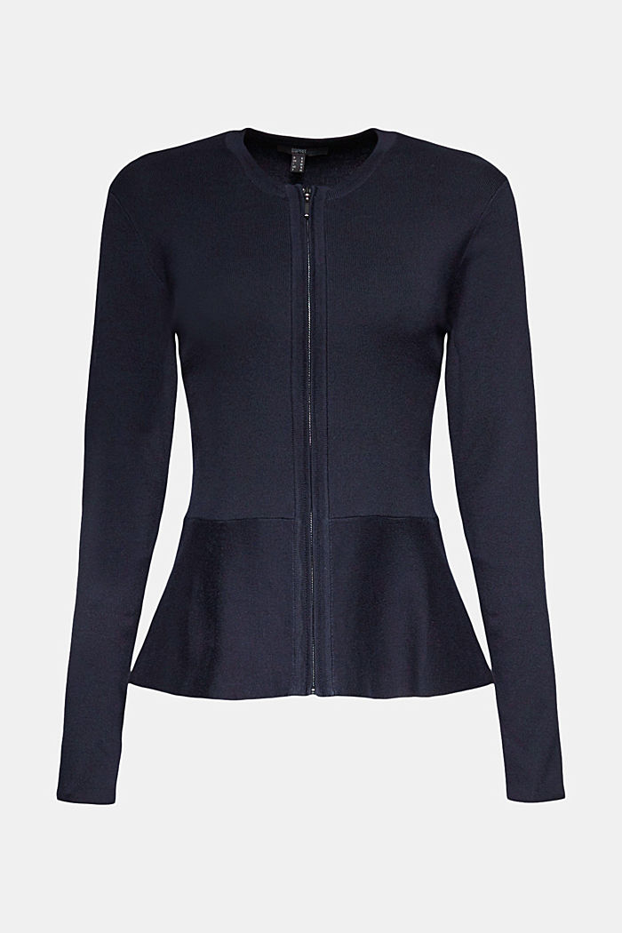 Fitted knit cardigan with a peplum, NAVY, detail image number 7