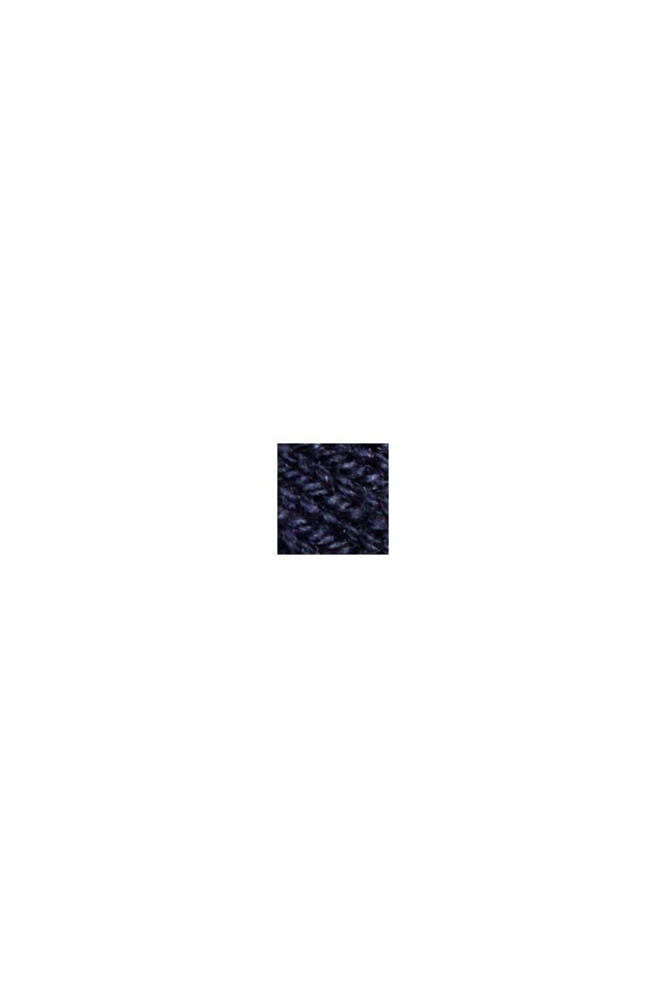 Cardigan sciancrato con zip e balza, NAVY, swatch