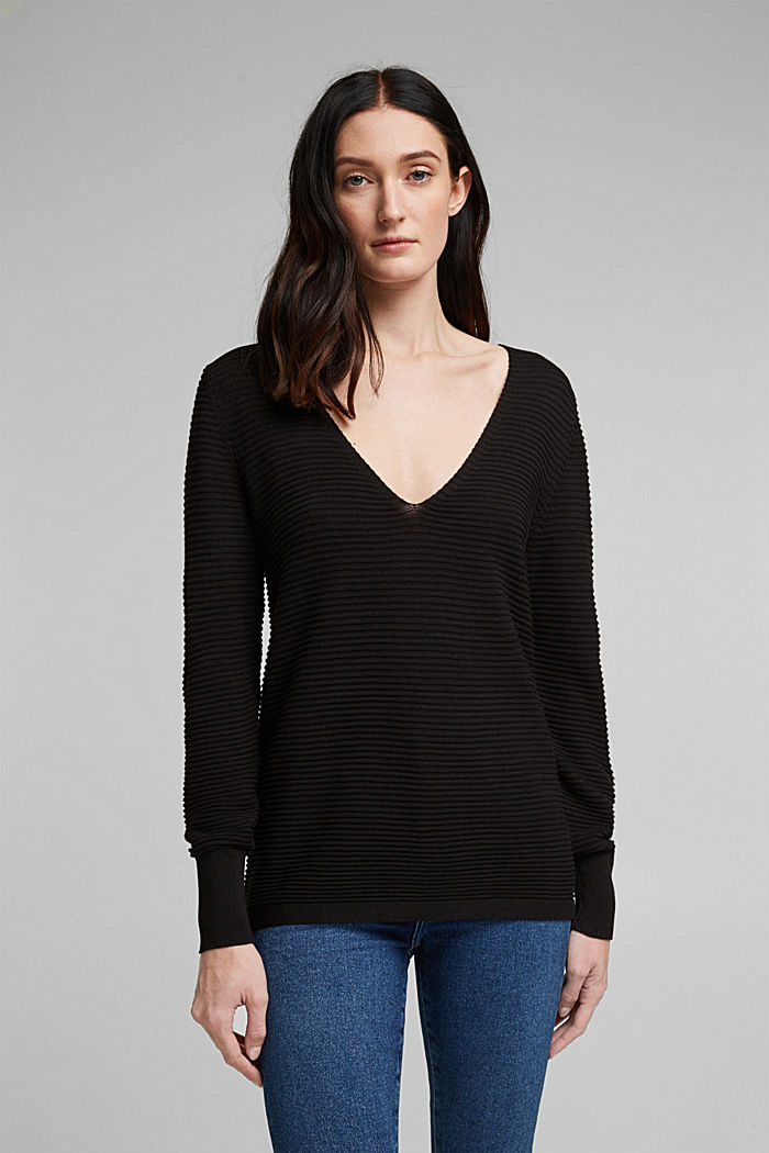 With lyocell TENCEL™: Ribbed jumper, BLACK, detail image number 0