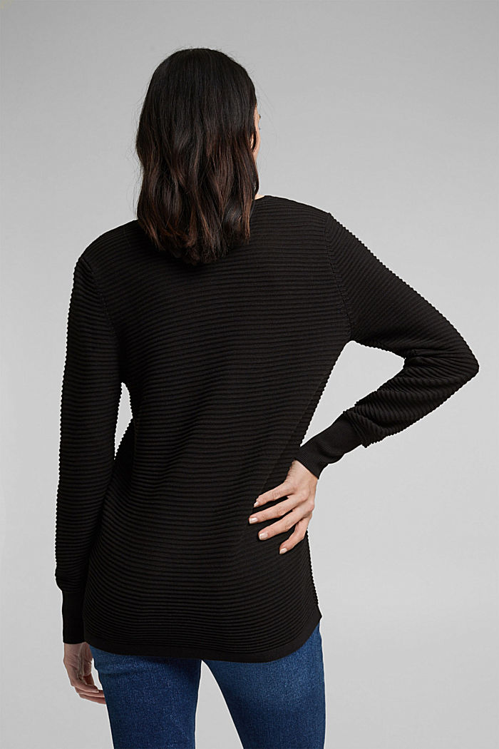 With lyocell TENCEL™: Ribbed jumper, BLACK, detail image number 3
